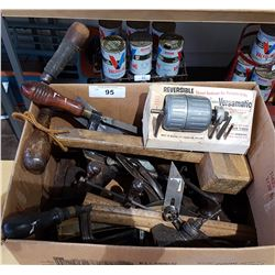 BOX LOT OF MISC ANTIQUE HAND TOOLS
