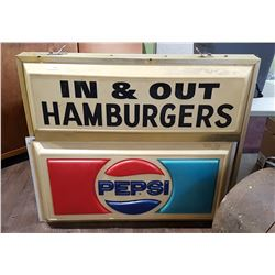 ORIGINAL PEPSI LIGHT UP SIGN DOUBLE SIDED
