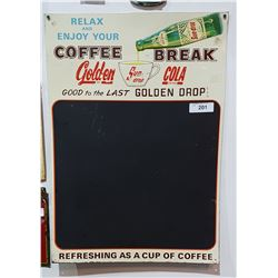 VINTAGE GOLDEN COLA TIN CHALKBOARD