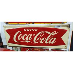 VINTAGE FISHTAIL COCA COLA SIGN