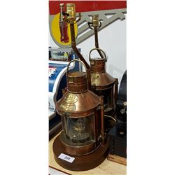 PAIR ELECTRIFIED ANTIQUE LANTERNS