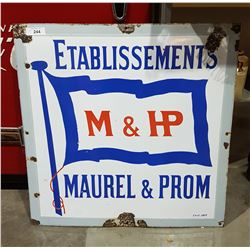 VINTAGE M&P PORCELAIN SIGN