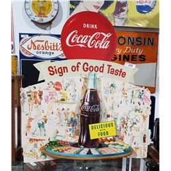 1956 COCA COLA EASEL BACK STORE DISPLAY