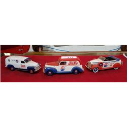LOT OF 3 VINTAGE DIE CAST PEPSI COLLECTIBLE CARS