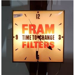 VINTAGE FRAM OIL FILTER BUBBLE GLASS CLOCK