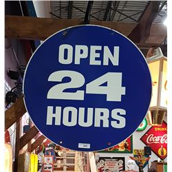 ORIGINAL DOUBLE SIDED OPEN 24 HOURS GAS STATION PORCELAIN SIGN