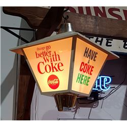 VINTAGE 4 SIDED COCA COLA HANGING LIGHT