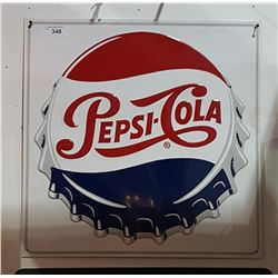 EMBOSSED PEPSI COLA TIN SIGN