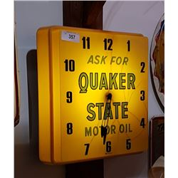 QUAKER STATE MOTOR OIL CLOCK