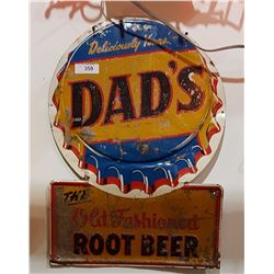 VINTAGE DAD'S ROOTBEER TIN SIGN