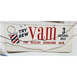 VINTAGE VAM BARBER TIN SIGN DATED 1957 DOUBLE SIDED