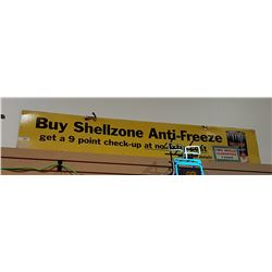 VINTAGE CARDBOARD SHELLZONE ANTIFREEZE DOUBLE SIDED SIGN