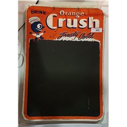 1940'S ORANGE CRUSH TIN CHALKBOARD