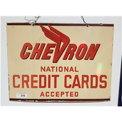 VINTAGE CHEVRON CREDIT CARD PORCELAIN SIGN DOUBLE SIDED
