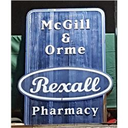 REXALL PHARMACY DOUBLE SIDED WOOD SIGN