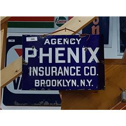 VINTAGE PORCELAIN PHENIX INSURANCE CO SIGN