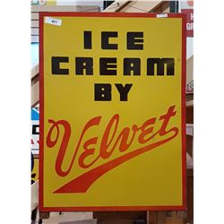 VINTAGE VELVET ICE CREAM METAL SIGN