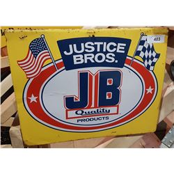ORIGINAL JUSTICE BROS. TIN SIGN
