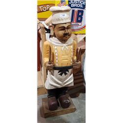 54 INCH WOOD CHEF STATUE