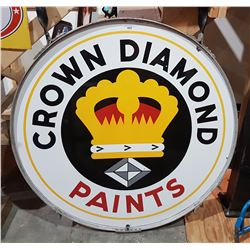 1947 CROWN DIAMOND PAINTS PORCELAIN SIGN DOUBLE SIDED IN ORIGINAL HANGING BRACKET