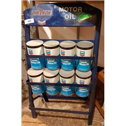 CUSTOM CHEVRON OIL RACK W/8 FULL CHEVERON OIL QUARTS