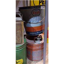 TWO PCS-VINTAGE GAS CAN & ESSO 25LB GREASE PAIL