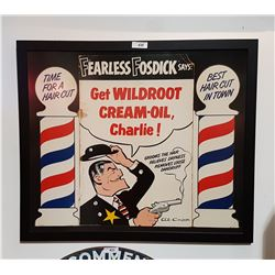 ORIGINAL 1954 FRAMED WILDROOT BARBER CARDBOARD SIGN