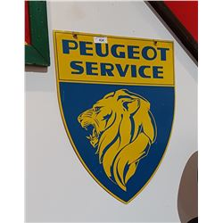 ORIGINAL PEUGOT SERVICE DEALERSHIP SIGN DOUBLE SIDED