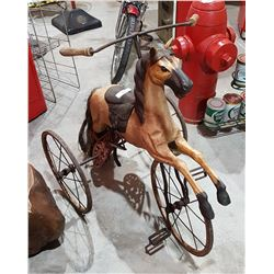 ANTIQUE STYLE WOOD HORSE TRICYCLE