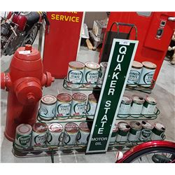 CUSTOM MADE QUAKER STATE OIL RACK W/APPROX 25 OIL QUARTS
