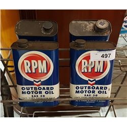 FOUR VINTAGE RPM OUTBOARD MOTOR OIL CANS
