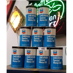 LOT OF 13 CHEVRON OIL QUARTS FULL