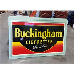 1948 BUCKINGHAM CIGARETTES METAL SIGN IN WOOD FRAME