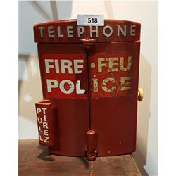 VINTAGE EMERGENCY TELEPHONE IN CAST IRON WALL BOX