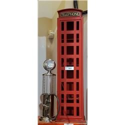 TWO PCS-TELEPHONE BOOTH STORAGE CABINET & GAS PUMP BEVERAGE DISPENSER