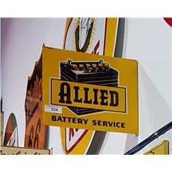 VINTAGE ALLIED BATTERY SERVICE FLANGE SIGN