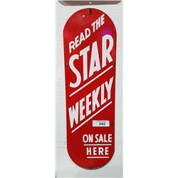 VINTAGE PORCELAIN STAR WEEKLY SIGN