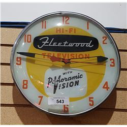 VINTAGE FLEETWOOD TELEVISION BUBBLE GLASS CLOCK