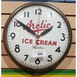 VINTAGE ARCTIC ICE CREAM BUBBLE GLASS CLOCK
