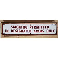 PORCELAIN SMOKING PERMITTED SIGN