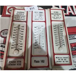THREE VINTAGE METAL THERMOMETERS