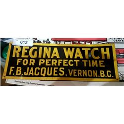 VINTAGE REGINA WATCH TIN TACKER SIGN