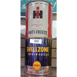 VINTAGE INTERNATIONAL & SHELL ANTIFREEZE CANS