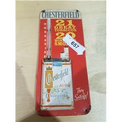 VINTAGE CHESTERFIELD TOBACCO EMBOSSED THERMOMETER