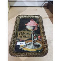 ANTIQUE CHISM'S ICE CREAM SERVING TRAY