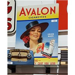 VINTAGE AVALON CIGARETTES CARDBOARD EASEL BACK SIGN