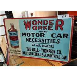 ANTIQUE WONDER WORKER CARDBOARD SIGN