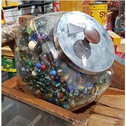 LARGE COUNTER TOP JAR OF VINTAGE MARBLES