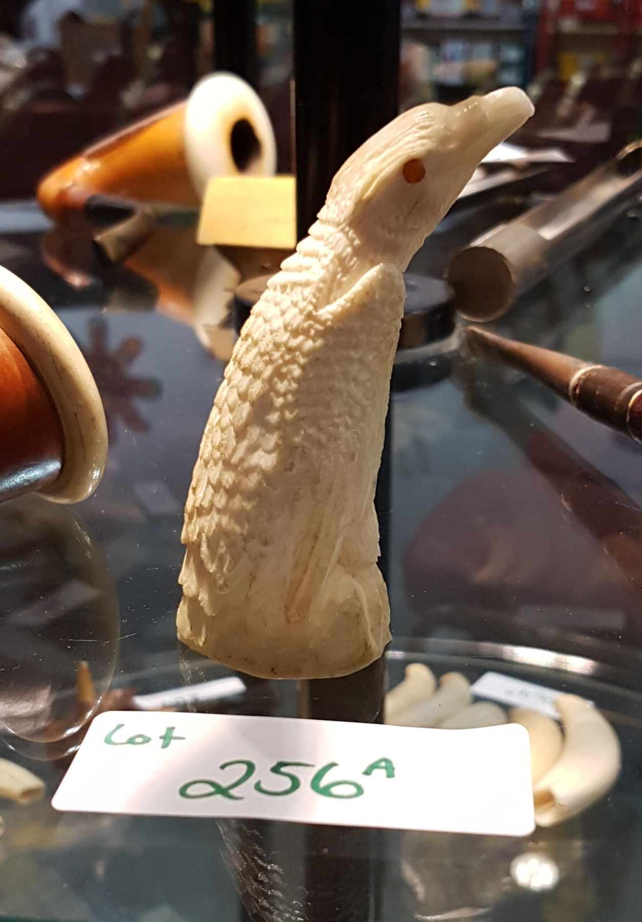 Vintage carved marine ivory in the shape of an eagle