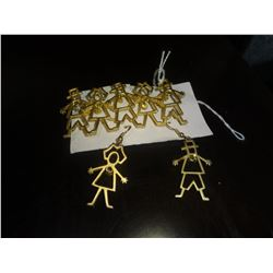 Stick People Ear Rings and Brooch